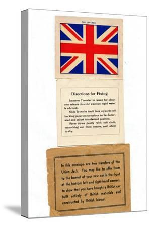 'Union Jack car transfers', c1960s-Unknown-Stretched Canvas Print