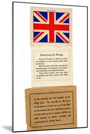'Union Jack car transfers', c1960s-Unknown-Mounted Giclee Print
