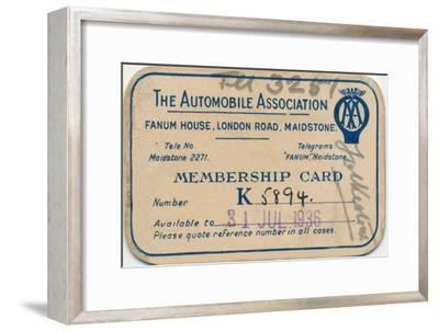 'The Automobile Association: Membership card', 1936-Unknown-Framed Giclee Print
