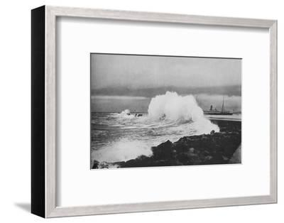 'Breakwater, Colombo, During S.-W. Monsoon', c1890 (1910)-Alfred William Amandus Plate-Framed Photographic Print