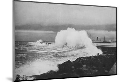'Breakwater, Colombo, During S.-W. Monsoon', c1890 (1910)-Alfred William Amandus Plate-Mounted Photographic Print