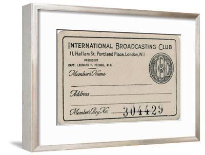 'International Broadcasting Club: Membership card', c1930s-Unknown-Framed Giclee Print