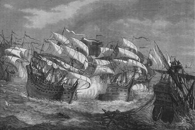 'Drake Attacking the Spanish Treasure Ship', c1578, (c1880)-Unknown-Framed Giclee Print