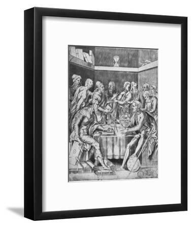 'Agrippa Instructing His Pupils Mathematically', 1553, (1936)-Unknown-Framed Giclee Print