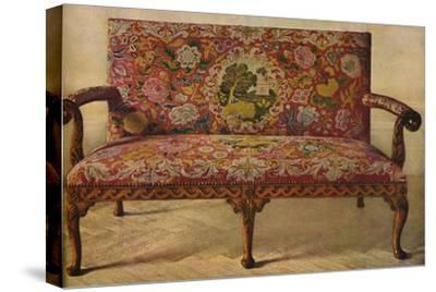 'A Queen Anne Settee Upholstered in Petit Point', c1900, (1936)-Unknown-Stretched Canvas Print