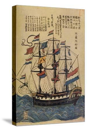 'A Bunkindo Colour-Print of a Dutch Ship with descriptive text', c1800, (1936)-Unknown-Stretched Canvas Print