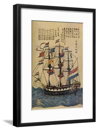 'A Bunkindo Colour-Print of a Dutch Ship with descriptive text', c1800, (1936)-Unknown-Framed Giclee Print