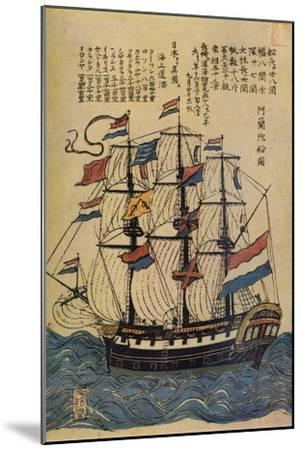 'A Bunkindo Colour-Print of a Dutch Ship with descriptive text', c1800, (1936)-Unknown-Mounted Giclee Print