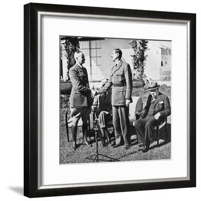 ''Henri Giraud and de Gaulle during the Casablanca Conference, January, 1943, (1945)-Unknown-Framed Photographic Print