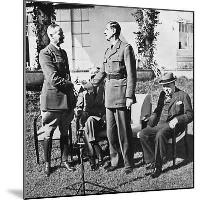 ''Henri Giraud and de Gaulle during the Casablanca Conference, January, 1943, (1945)-Unknown-Mounted Photographic Print