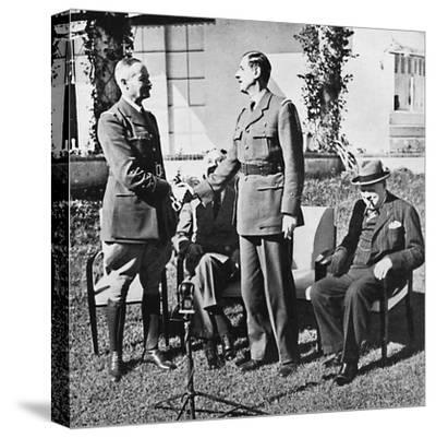 ''Henri Giraud and de Gaulle during the Casablanca Conference, January, 1943, (1945)-Unknown-Stretched Canvas Print
