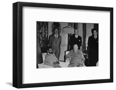 'Churchill in Cairo, with Ethiopian Emperor, Haile Selassie', 1943, (1945)-Unknown-Framed Photographic Print