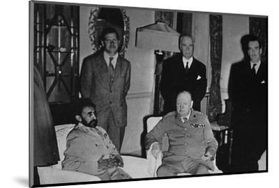 'Churchill in Cairo, with Ethiopian Emperor, Haile Selassie', 1943, (1945)-Unknown-Mounted Photographic Print