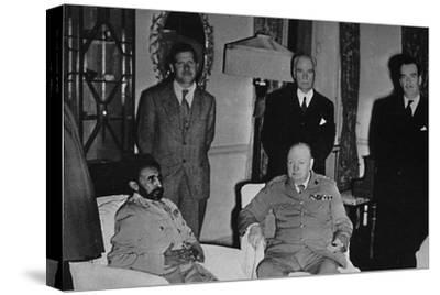 'Churchill in Cairo, with Ethiopian Emperor, Haile Selassie', 1943, (1945)-Unknown-Stretched Canvas Print