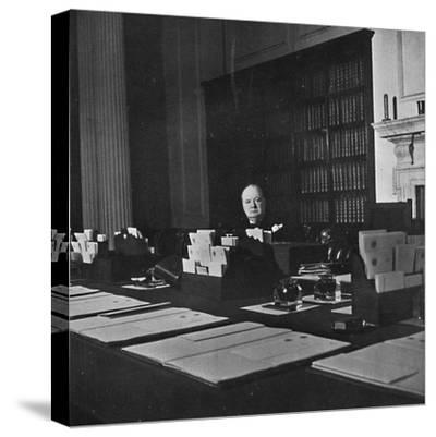 Winston Churchill in the Cabinet Room of 10 Downing Street', c1940s, (1945)-Unknown-Stretched Canvas Print