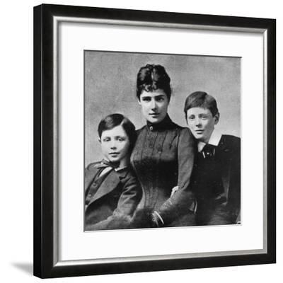 'But at least happiness could be found at home with mother and brother John', 1889, (1945)-Unknown-Framed Photographic Print
