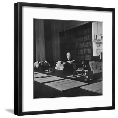 Winston Churchill in the Cabinet Room of 10 Downing Street', c1940s, (1945)-Unknown-Framed Photographic Print