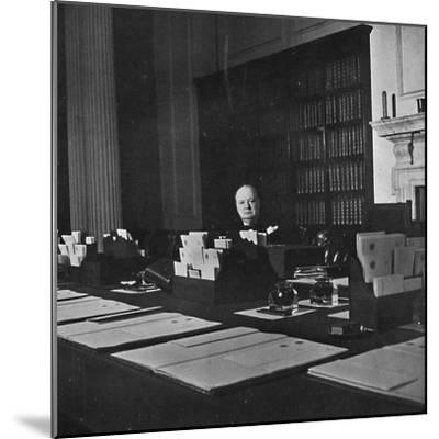 Winston Churchill in the Cabinet Room of 10 Downing Street', c1940s, (1945)-Unknown-Mounted Photographic Print