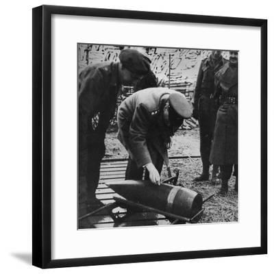 'Mr. Churchill autographing a present for Hitler', c1940s, (1945)-Unknown-Framed Photographic Print