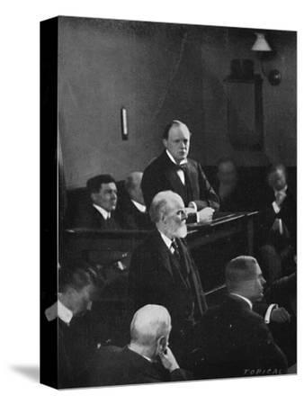 'Churchill giving evidence regarding the Sidney Street incident', 1911, (1945)-Unknown-Stretched Canvas Print