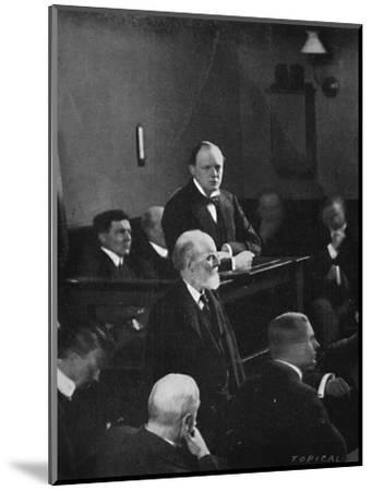 'Churchill giving evidence regarding the Sidney Street incident', 1911, (1945)-Unknown-Mounted Photographic Print