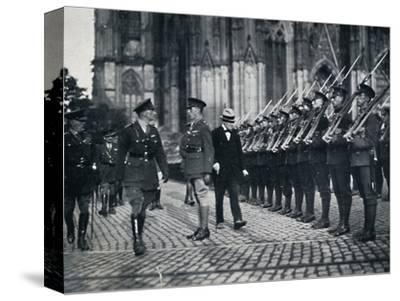 'Inspection of troops at the foot of Cologne Cathedral', 1919, (1945)-Unknown-Stretched Canvas Print