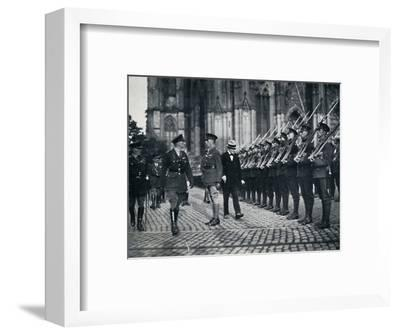 'Inspection of troops at the foot of Cologne Cathedral', 1919, (1945)-Unknown-Framed Photographic Print