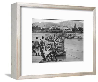 'Building a pontoon bridge over a French stream', 1915-Unknown-Framed Photographic Print