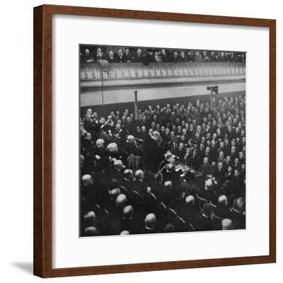 'On 27th January, Mr. Churchill addressed an audience in Free Trade Hall, Manchester', 1913, (1945)-Unknown-Framed Photographic Print