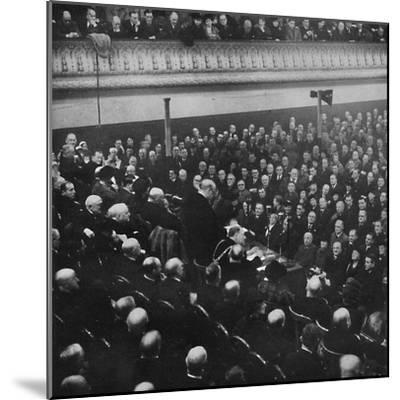 'On 27th January, Mr. Churchill addressed an audience in Free Trade Hall, Manchester', 1913, (1945)-Unknown-Mounted Photographic Print