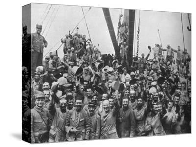 Vive la France: French troops on board a transport going to the Dardanelles', 1915-Unknown-Stretched Canvas Print