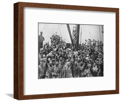 Vive la France: French troops on board a transport going to the Dardanelles', 1915-Unknown-Framed Photographic Print
