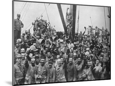 Vive la France: French troops on board a transport going to the Dardanelles', 1915-Unknown-Mounted Photographic Print