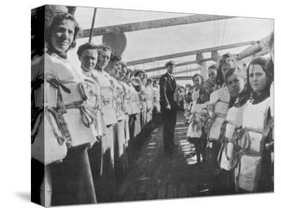 'War time lifebelt drill on board an ocean liner', 1915-Unknown-Stretched Canvas Print