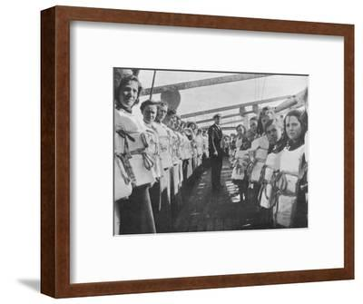 'War time lifebelt drill on board an ocean liner', 1915-Unknown-Framed Photographic Print
