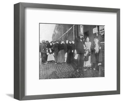 'Waiting for relief rations at Bruges', 1915-Unknown-Framed Photographic Print