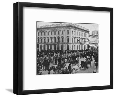 'German and Austrian prisoners being marched through the streets of Petrograd', 1915-Unknown-Framed Photographic Print