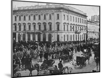 'German and Austrian prisoners being marched through the streets of Petrograd', 1915-Unknown-Mounted Photographic Print