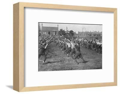 'Recruits learning the use of the bayonet', 1915-Unknown-Framed Photographic Print