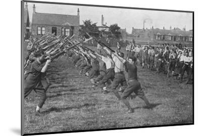'Recruits learning the use of the bayonet', 1915-Unknown-Mounted Photographic Print