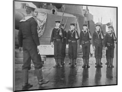 'Rifle drill on board a British battleship', 1915-Unknown-Mounted Photographic Print
