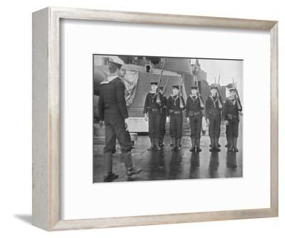 'Rifle drill on board a British battleship', 1915-Unknown-Framed Photographic Print