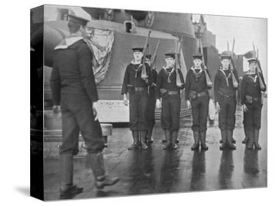 'Rifle drill on board a British battleship', 1915-Unknown-Stretched Canvas Print