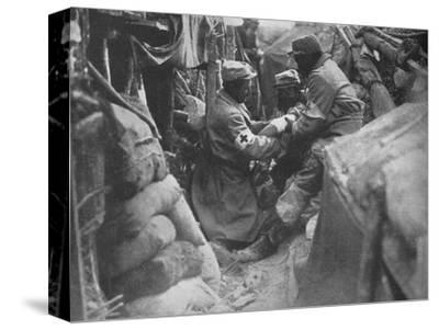 'First aid to a wounded man in one of the French trenches', 1915-Unknown-Stretched Canvas Print