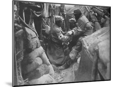 'First aid to a wounded man in one of the French trenches', 1915-Unknown-Mounted Photographic Print