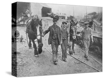 'After the settlement: Miners taking their ponies back to the pit', 1915-Unknown-Stretched Canvas Print