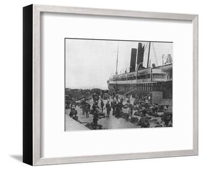 'The Dardanelles Expeditionary Force sets out: A transport loading up at Alexandria', 1915-Unknown-Framed Photographic Print