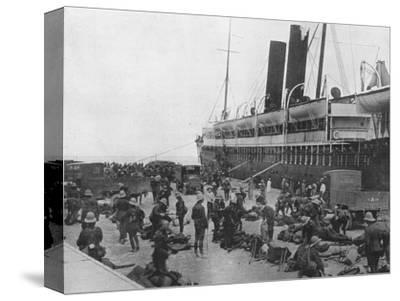 'The Dardanelles Expeditionary Force sets out: A transport loading up at Alexandria', 1915-Unknown-Stretched Canvas Print