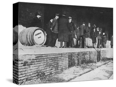'After the Declaration of War: German beer being run away at an Italian Customs store', 1915-Unknown-Stretched Canvas Print