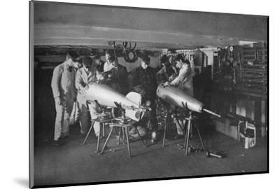 'Examining a Torpedo', 1914-Unknown-Mounted Photographic Print